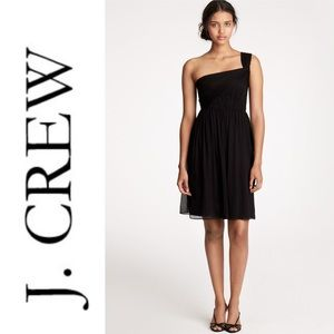 J.Crew Lucienne One-shoulder Dress in Silk Chiffon